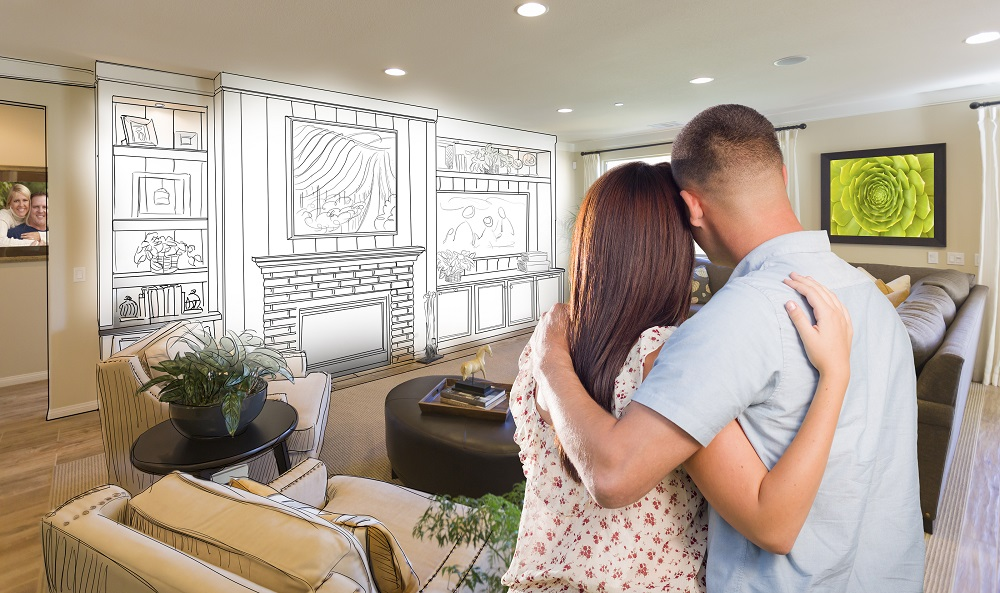 Young Military Couple Inside Custom Room and Design Drawing Comb